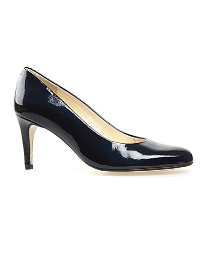 Trinity Marine Navy Feature - predominant colour: navy; occasions: work; material: leather; heel height: mid; heel: standard; toe: round toe; style: courts; finish: patent; pattern: plain; season: a/w 2015