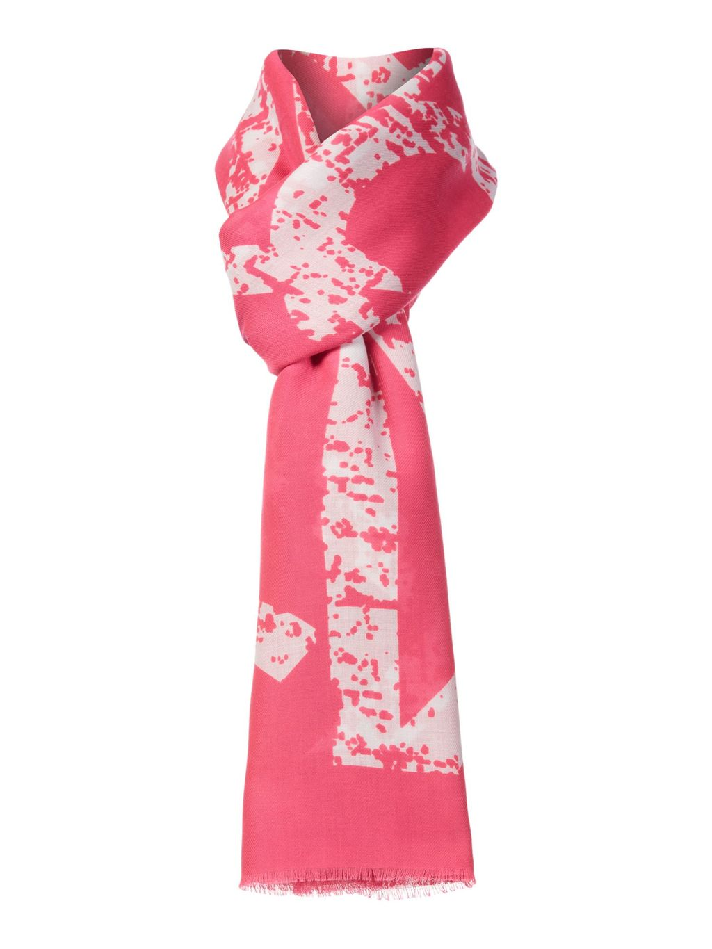 Neon Scarf, Pink - secondary colour: ivory/cream; predominant colour: pink; occasions: casual; type of pattern: standard; style: regular; size: standard; material: fabric; pattern: patterned/print; season: a/w 2015; wardrobe: highlight