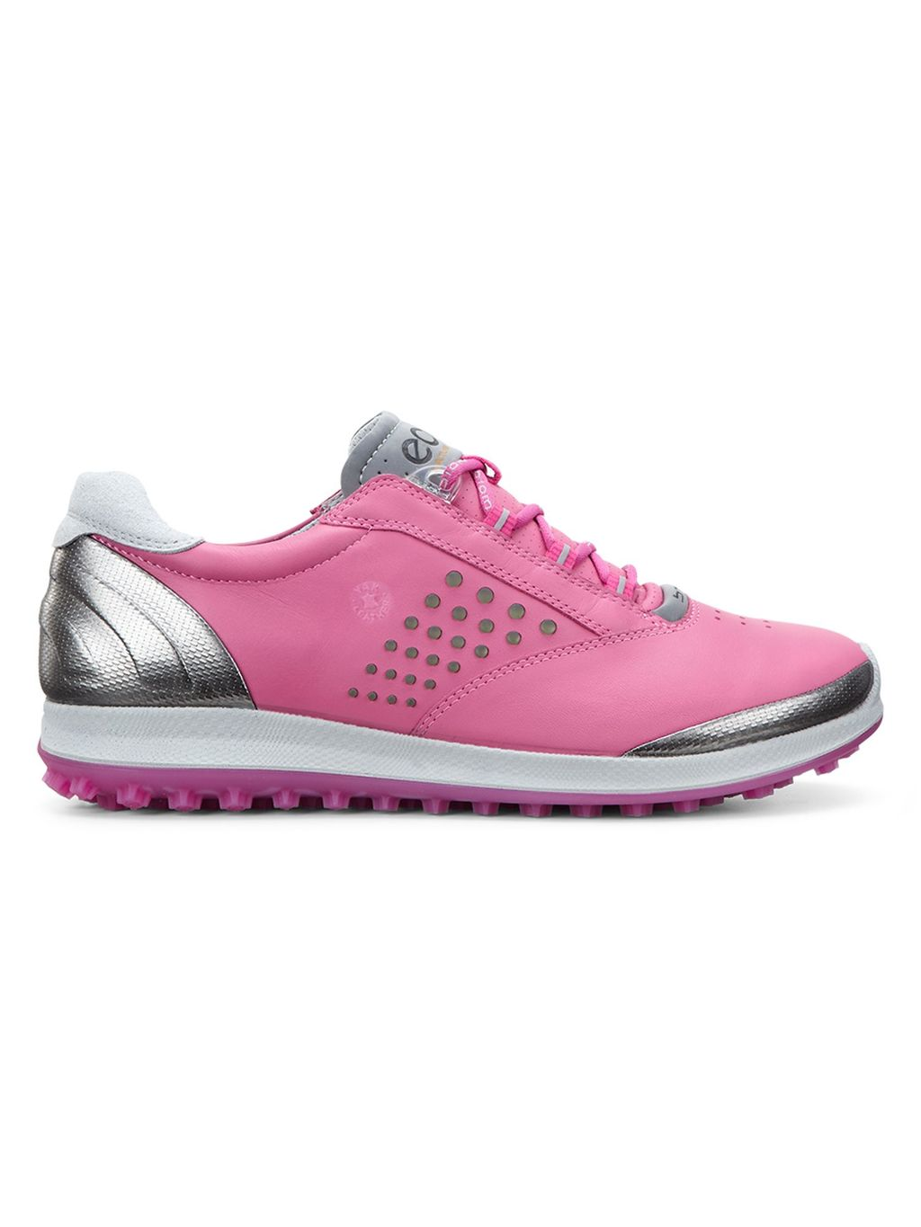 Biom Hybrid 2 Golf Shoes, Pink - predominant colour: pink; secondary colour: silver; occasions: casual; material: leather; heel height: flat; toe: round toe; style: trainers; finish: metallic; pattern: plain; shoe detail: tread; season: a/w 2015; wardrobe: highlight
