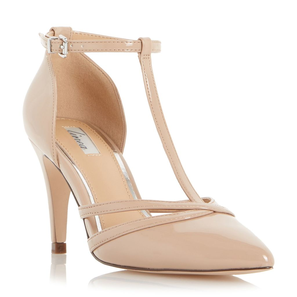Clarice Pointed Toe T Bar Court Shoes, Nude - predominant colour: nude; occasions: evening, occasion; material: faux leather; heel height: high; ankle detail: ankle strap; heel: stiletto; toe: pointed toe; style: t-bar; finish: patent; pattern: plain; season: a/w 2015; wardrobe: event