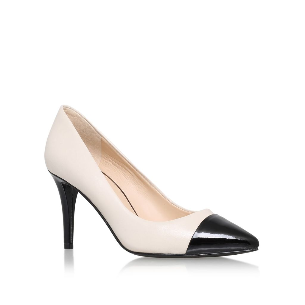 Pano High Heel Court Shoes, White - secondary colour: ivory/cream; predominant colour: black; occasions: evening, work, occasion; material: faux leather; heel height: high; heel: cone; toe: pointed toe; style: courts; finish: plain; pattern: colourblock; season: a/w 2015