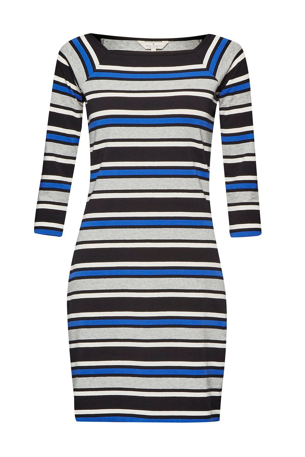 Suo Stripe Stretch Dress, Blue - length: mini; neckline: high square neck; fit: tight; pattern: horizontal stripes; style: bodycon; hip detail: draws attention to hips; predominant colour: royal blue; secondary colour: black; occasions: evening, creative work; fibres: cotton - stretch; sleeve length: 3/4 length; sleeve style: standard; texture group: jersey - clingy; pattern type: fabric; pattern size: standard; multicoloured: multicoloured; season: a/w 2015; wardrobe: highlight