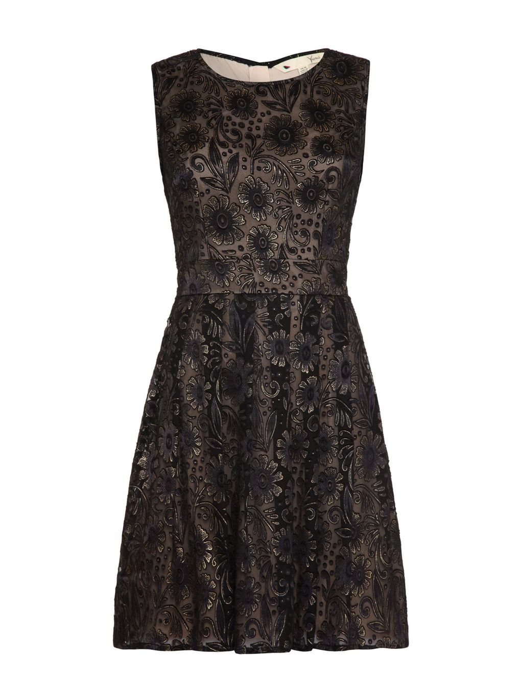 Embroidered Floral Occasion Dress, Black - style: shift; sleeve style: sleeveless; secondary colour: nude; predominant colour: black; occasions: evening, occasion; length: just above the knee; fit: fitted at waist & bust; fibres: polyester/polyamide - stretch; neckline: crew; hip detail: soft pleats at hip/draping at hip/flared at hip; sleeve length: sleeveless; texture group: lace; pattern type: fabric; pattern: patterned/print; embellishment: lace; season: a/w 2015