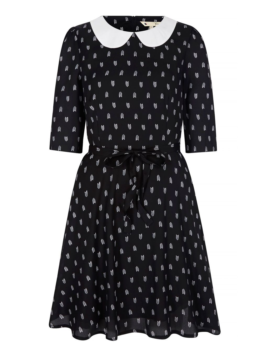 Arrow Print Collar Dress, Black - secondary colour: white; predominant colour: black; occasions: casual, creative work; length: just above the knee; fit: fitted at waist & bust; style: fit & flare; fibres: polyester/polyamide - 100%; neckline: no opening/shirt collar/peter pan; sleeve length: half sleeve; sleeve style: standard; texture group: sheer fabrics/chiffon/organza etc.; pattern type: fabric; pattern size: standard; pattern: patterned/print; season: a/w 2015; wardrobe: highlight