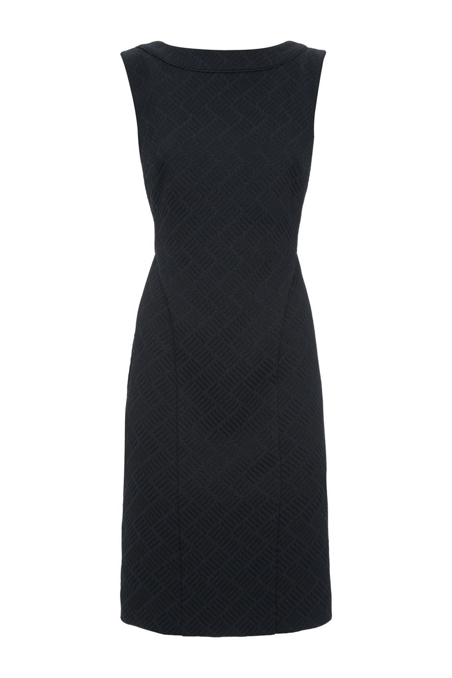 Cora Dress, Navy - style: shift; neckline: slash/boat neckline; fit: tailored/fitted; pattern: plain; sleeve style: sleeveless; predominant colour: navy; occasions: evening, occasion; length: just above the knee; fibres: sheepskin - 100%; sleeve length: sleeveless; pattern type: fabric; texture group: woven light midweight; season: a/w 2015