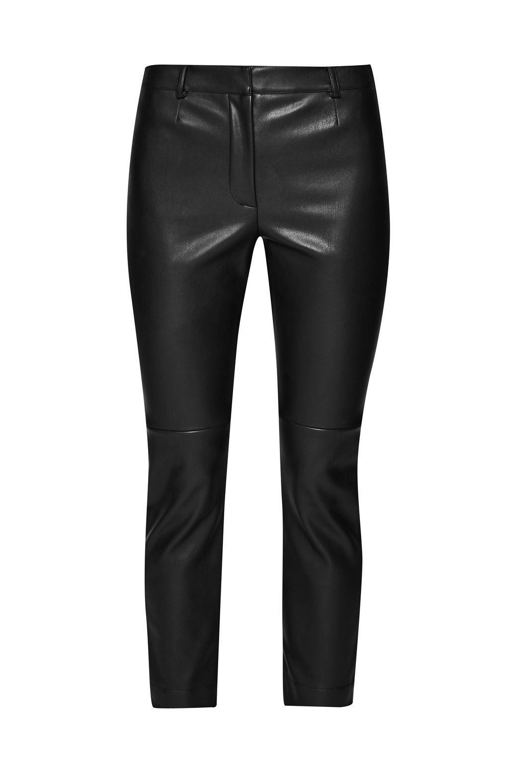 Atlantic Faux Leather Cropped Trousers, Black - pattern: plain; waist: mid/regular rise; predominant colour: black; occasions: evening, creative work; length: ankle length; texture group: leather; fit: slim leg; pattern type: fabric; style: standard; fibres: pvc/polyurethene - 100%; season: a/w 2015; wardrobe: highlight