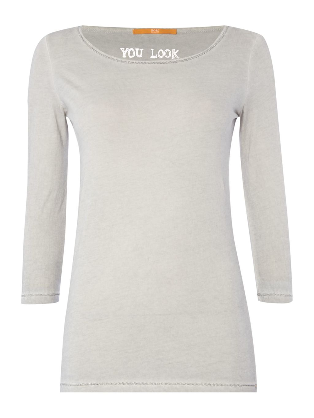 Jersey Top With 3/4 Sleeve, Charcoal - pattern: plain; style: t-shirt; predominant colour: mid grey; occasions: casual; length: standard; neckline: scoop; fibres: cotton - stretch; fit: body skimming; sleeve length: 3/4 length; sleeve style: standard; texture group: jersey - clingy; pattern type: fabric; season: a/w 2015
