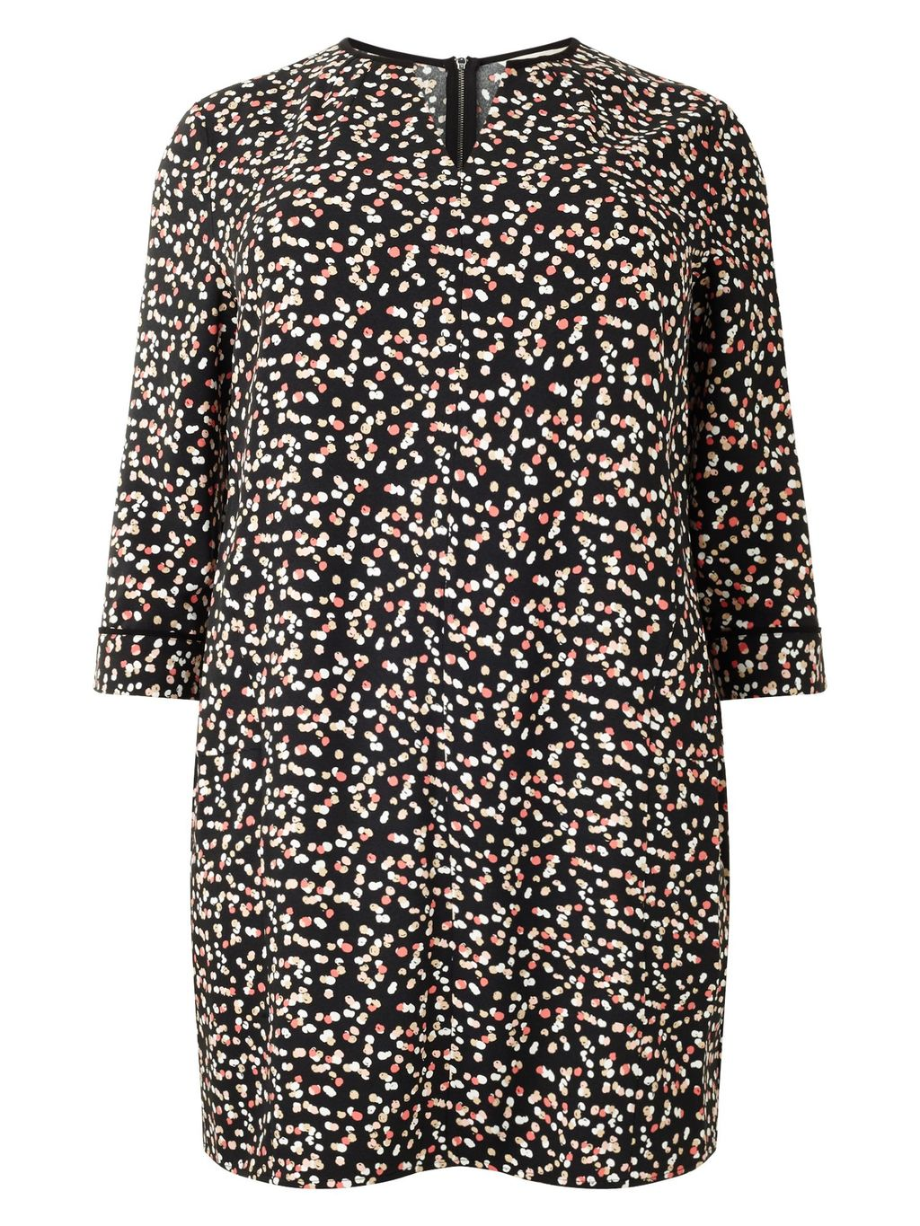 Belinda Tunic, Multi Coloured - length: below the bottom; style: tunic; pattern: polka dot; secondary colour: stone; predominant colour: black; occasions: casual; fibres: polyester/polyamide - 100%; fit: straight cut; neckline: crew; sleeve length: 3/4 length; sleeve style: standard; pattern type: fabric; pattern size: standard; texture group: jersey - stretchy/drapey; season: a/w 2015