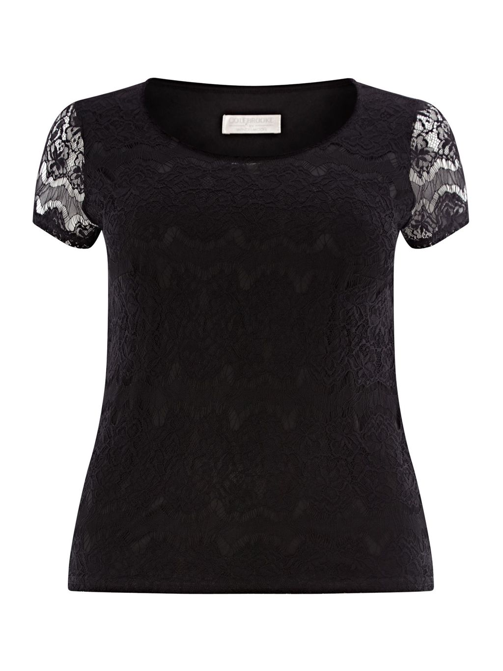 Black Lace Top, Black - neckline: round neck; pattern: plain; predominant colour: black; occasions: evening; length: standard; style: top; fibres: polyester/polyamide - stretch; fit: body skimming; sleeve length: short sleeve; sleeve style: standard; texture group: lace; pattern type: fabric; pattern size: standard; embellishment: lace; season: a/w 2015; wardrobe: event