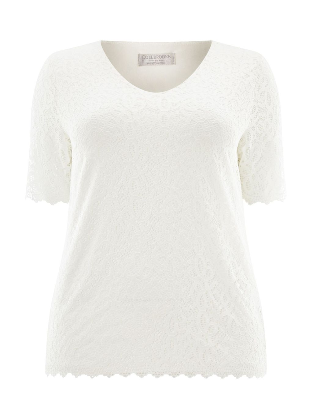 Ivory Lace Jersey Top, Neutral - neckline: v-neck; predominant colour: ivory/cream; occasions: casual; length: standard; style: top; fibres: viscose/rayon - stretch; fit: body skimming; sleeve length: short sleeve; sleeve style: standard; texture group: lace; pattern type: fabric; pattern size: light/subtle; pattern: patterned/print; season: a/w 2015; wardrobe: highlight