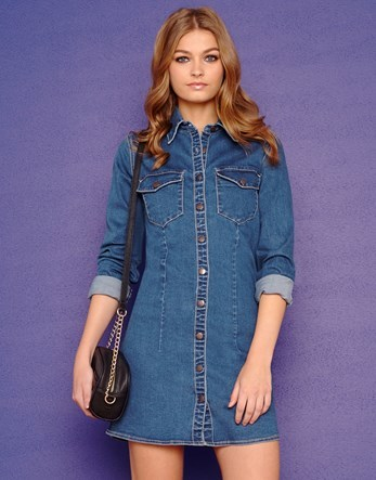 Denim Button Down Dress - style: shirt; length: mini; neckline: shirt collar/peter pan/zip with opening; pattern: plain; predominant colour: denim; occasions: casual, creative work; fit: body skimming; sleeve length: 3/4 length; sleeve style: standard; texture group: denim; pattern type: fabric; season: a/w 2015