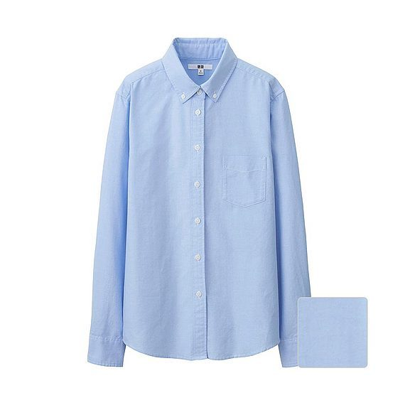 Women Oxford Long Sleeve Shirt Blue - neckline: shirt collar/peter pan/zip with opening; pattern: plain; length: below the bottom; style: shirt; predominant colour: pale blue; occasions: casual, work, creative work; fibres: cotton - 100%; fit: body skimming; sleeve length: long sleeve; sleeve style: standard; texture group: cotton feel fabrics; pattern type: fabric; season: a/w 2015