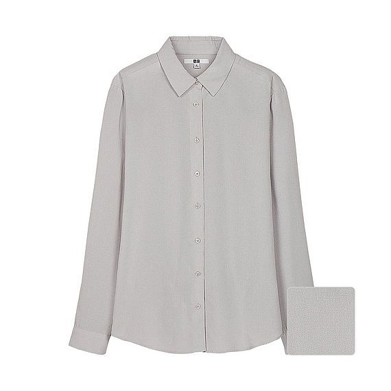 Women Silk Touch Long Sleeve Blouse (7 Colours) Light Gray - neckline: shirt collar/peter pan/zip with opening; pattern: plain; length: below the bottom; style: blouse; predominant colour: light grey; occasions: casual, work, creative work; fibres: viscose/rayon - 100%; fit: loose; sleeve length: long sleeve; sleeve style: standard; pattern type: fabric; texture group: other - light to midweight; season: a/w 2015; wardrobe: basic