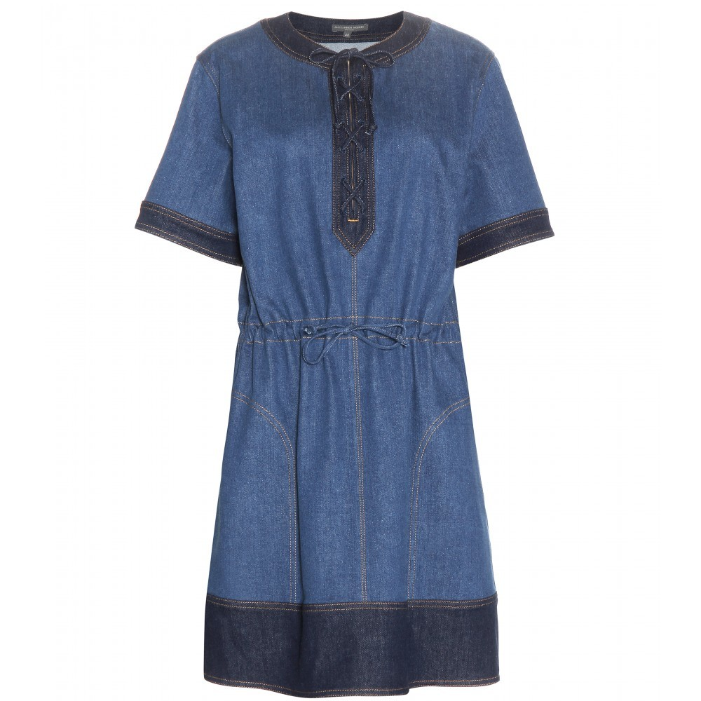 Denim Dress - style: shift; neckline: v-neck; pattern: plain; predominant colour: denim; occasions: casual; length: just above the knee; fit: soft a-line; fibres: cotton - stretch; hip detail: soft pleats at hip/draping at hip/flared at hip; sleeve length: short sleeve; sleeve style: standard; texture group: denim; pattern type: fabric; season: a/w 2015