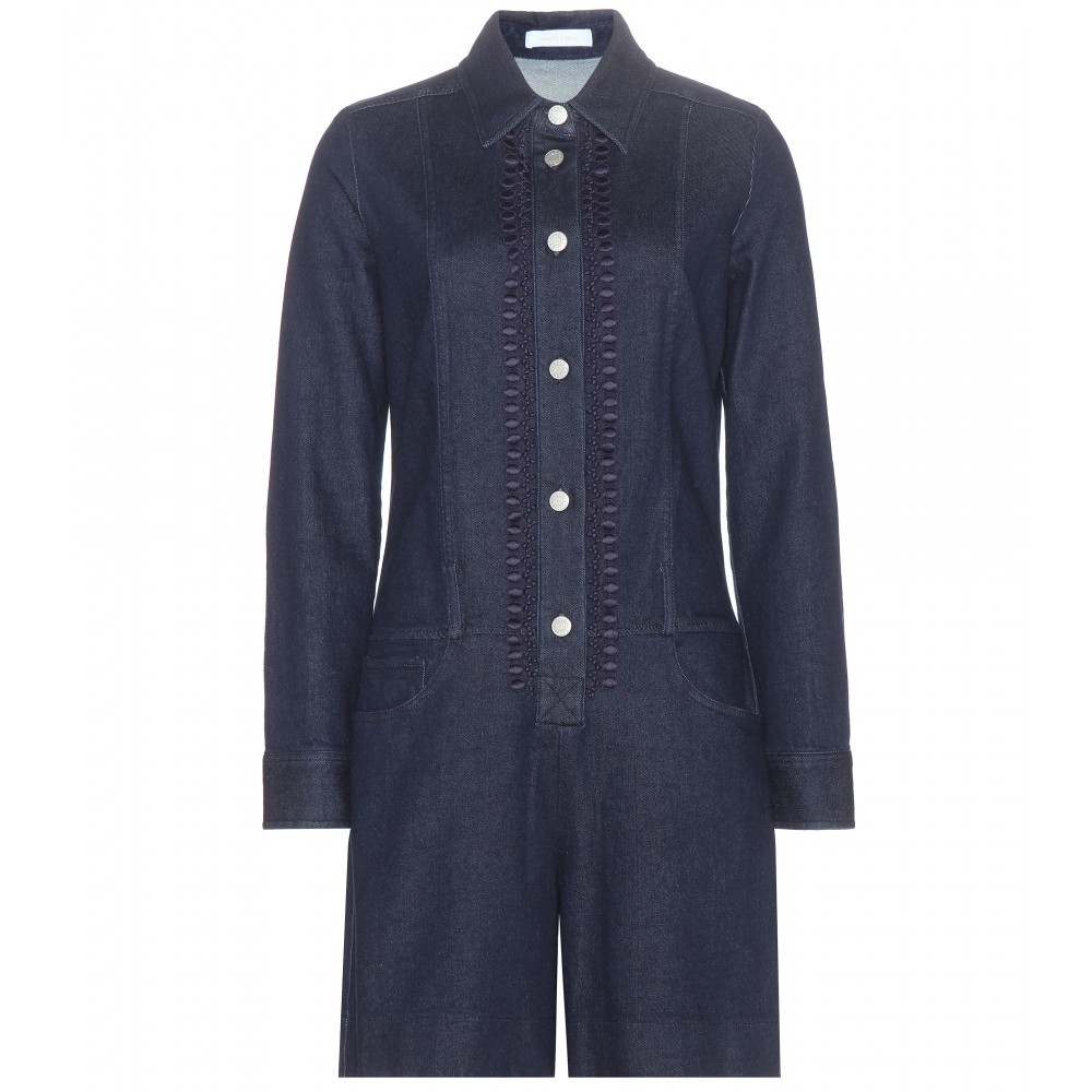 Denim Playsuit - neckline: shirt collar/peter pan/zip with opening; pattern: plain; length: mid thigh shorts; predominant colour: navy; occasions: casual, creative work; fit: body skimming; fibres: cotton - 100%; sleeve length: long sleeve; sleeve style: standard; texture group: denim; style: playsuit; pattern type: fabric; season: a/w 2015