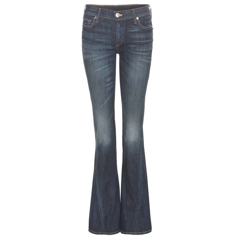 Becca Flared Jeans - style: flares; length: standard; pattern: plain; pocket detail: traditional 5 pocket; waist: mid/regular rise; predominant colour: navy; occasions: casual; fibres: cotton - 100%; jeans detail: whiskering, shading down centre of thigh, dark wash; texture group: denim; pattern type: fabric; season: a/w 2015; wardrobe: basic