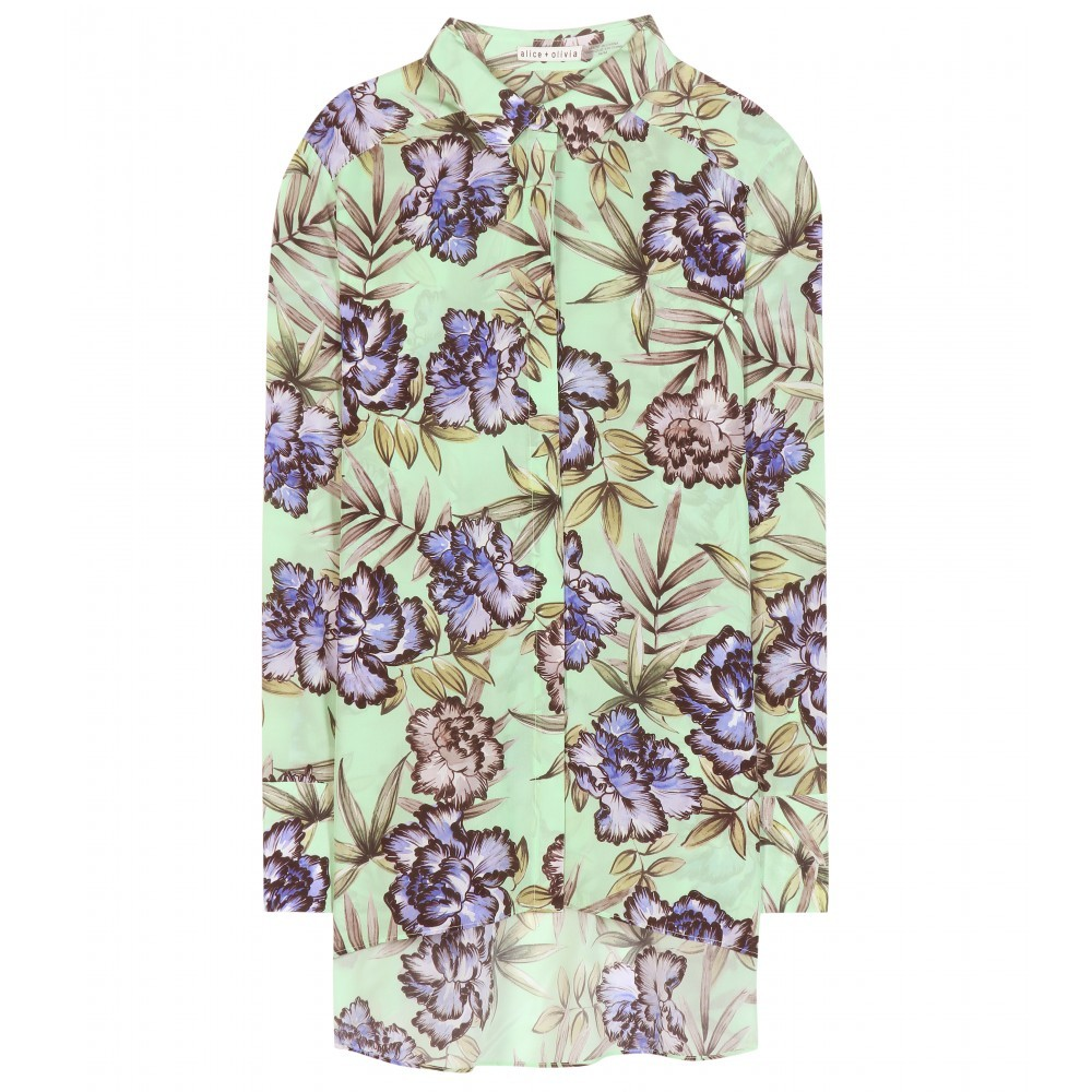 Aravi Printed Silk Blouse - neckline: shirt collar/peter pan/zip with opening; length: below the bottom; style: shirt; secondary colour: lilac; predominant colour: pistachio; occasions: casual; fibres: silk - 100%; fit: body skimming; sleeve length: long sleeve; sleeve style: standard; texture group: silky - light; pattern type: fabric; pattern: florals; multicoloured: multicoloured; season: a/w 2015