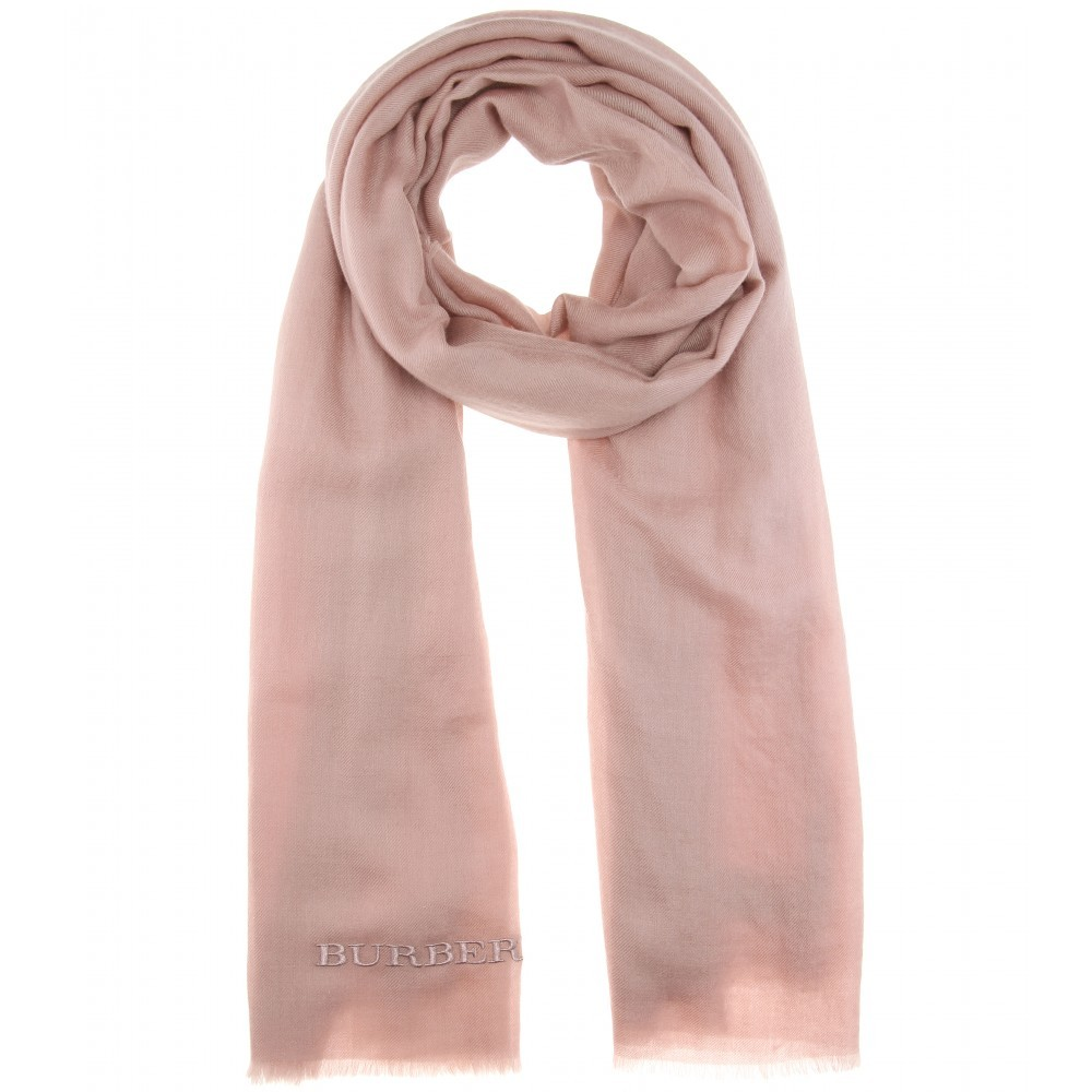 Embroidered Cashmere Scarf - predominant colour: blush; occasions: casual; type of pattern: standard; style: regular; size: standard; pattern: plain; material: cashmere; season: a/w 2015; wardrobe: investment