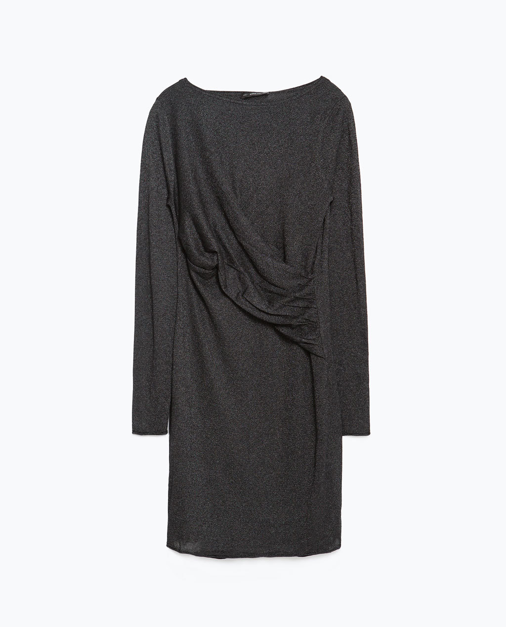 Dress With Draped Front - style: t-shirt; length: mid thigh; neckline: slash/boat neckline; fit: loose; pattern: plain; predominant colour: charcoal; occasions: casual; fibres: polyester/polyamide - stretch; sleeve length: long sleeve; sleeve style: standard; pattern type: fabric; texture group: jersey - stretchy/drapey; season: a/w 2015; wardrobe: basic