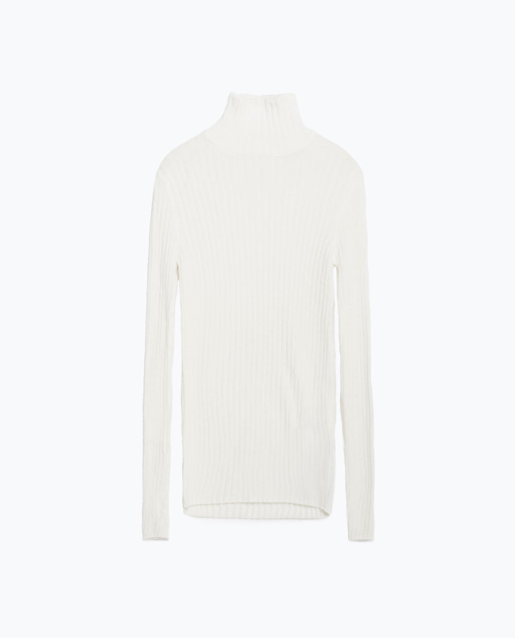 Ribbed Sweater - pattern: plain; neckline: high neck; length: below the bottom; style: standard; predominant colour: white; occasions: casual; fibres: polyester/polyamide - 100%; fit: standard fit; sleeve length: long sleeve; sleeve style: standard; texture group: knits/crochet; pattern type: knitted - fine stitch; season: a/w 2015; wardrobe: basic