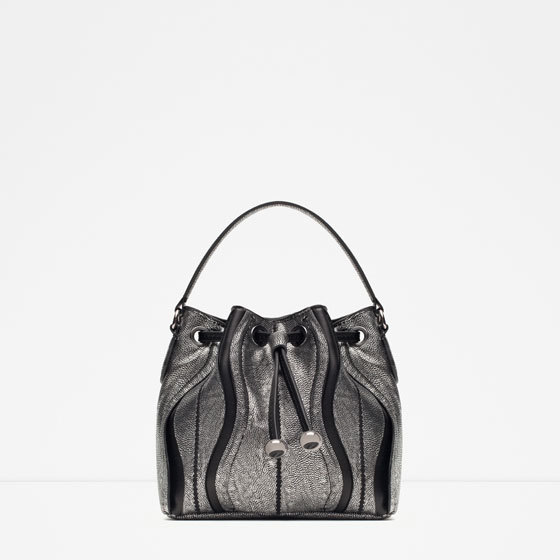 Evening Bucket Bag - predominant colour: silver; occasions: casual, creative work; style: onion bag; length: shoulder (tucks under arm); size: standard; material: faux leather; pattern: plain; finish: metallic; season: a/w 2015; wardrobe: highlight