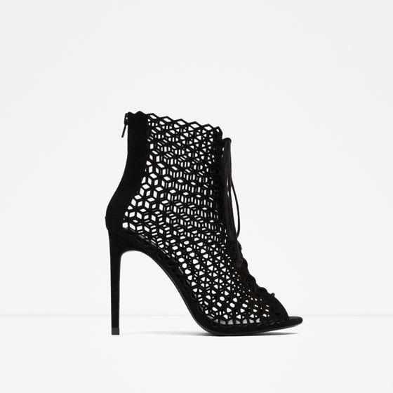 Lace Up Leather High Heel Sandals - predominant colour: black; occasions: evening, occasion; material: leather; heel height: high; ankle detail: ankle strap; heel: stiletto; toe: open toe/peeptoe; style: standard; finish: plain; pattern: plain; season: a/w 2015; wardrobe: event