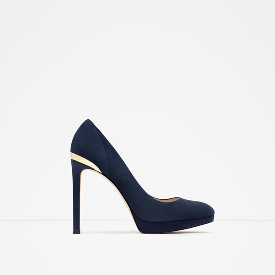 High Heel And Platform Leather Shoes - predominant colour: black; secondary colour: black; occasions: evening, occasion; heel: stiletto; toe: round toe; style: courts; finish: plain; pattern: plain; embellishment: chain/metal; heel height: very high; material: faux suede; shoe detail: platform; season: a/w 2015; wardrobe: event