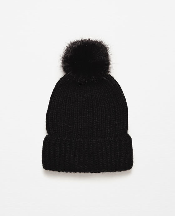 Pompom Hat - predominant colour: black; occasions: casual; type of pattern: standard; style: bobble; size: large; material: knits; pattern: plain; embellishment: pompom; season: a/w 2015; wardrobe: basic