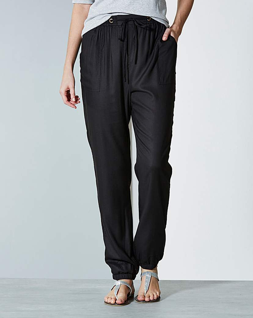 Viscose Harem Joggers Regular - length: standard; pattern: plain; style: tracksuit pants; pocket detail: pockets at the sides; waist detail: belted waist/tie at waist/drawstring; waist: mid/regular rise; predominant colour: navy; occasions: casual; fibres: polyester/polyamide - 100%; fit: straight leg; pattern type: fabric; texture group: woven light midweight; season: a/w 2015
