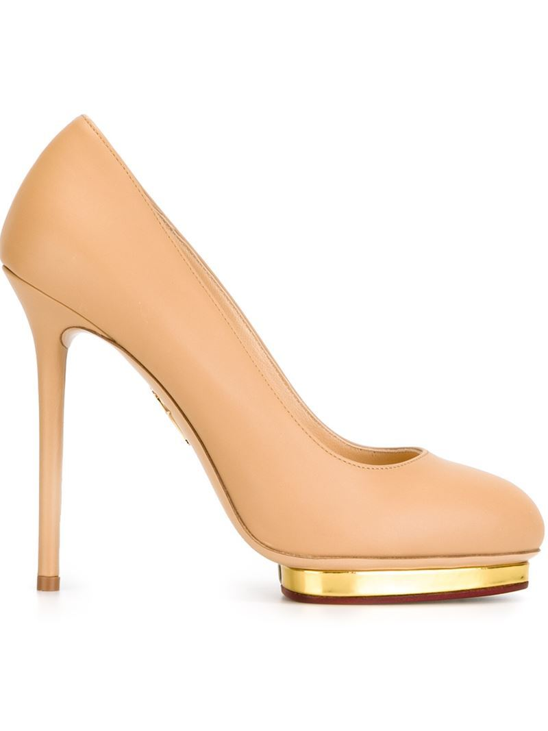 'dotty 125' Pumps, Women's, Nude/Neutrals - predominant colour: nude; secondary colour: gold; occasions: evening, occasion; material: leather; heel: stiletto; toe: round toe; style: courts; finish: plain; pattern: plain; heel height: very high; shoe detail: platform; season: a/w 2015; wardrobe: event