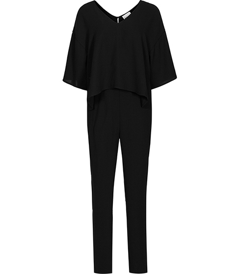 Bonnie Double Layer Jumpsuit - length: standard; neckline: low v-neck; sleeve style: dolman/batwing; pattern: plain; predominant colour: black; occasions: casual, evening, creative work; fit: body skimming; fibres: polyester/polyamide - 100%; sleeve length: 3/4 length; style: jumpsuit; pattern type: fabric; texture group: jersey - stretchy/drapey; season: a/w 2015