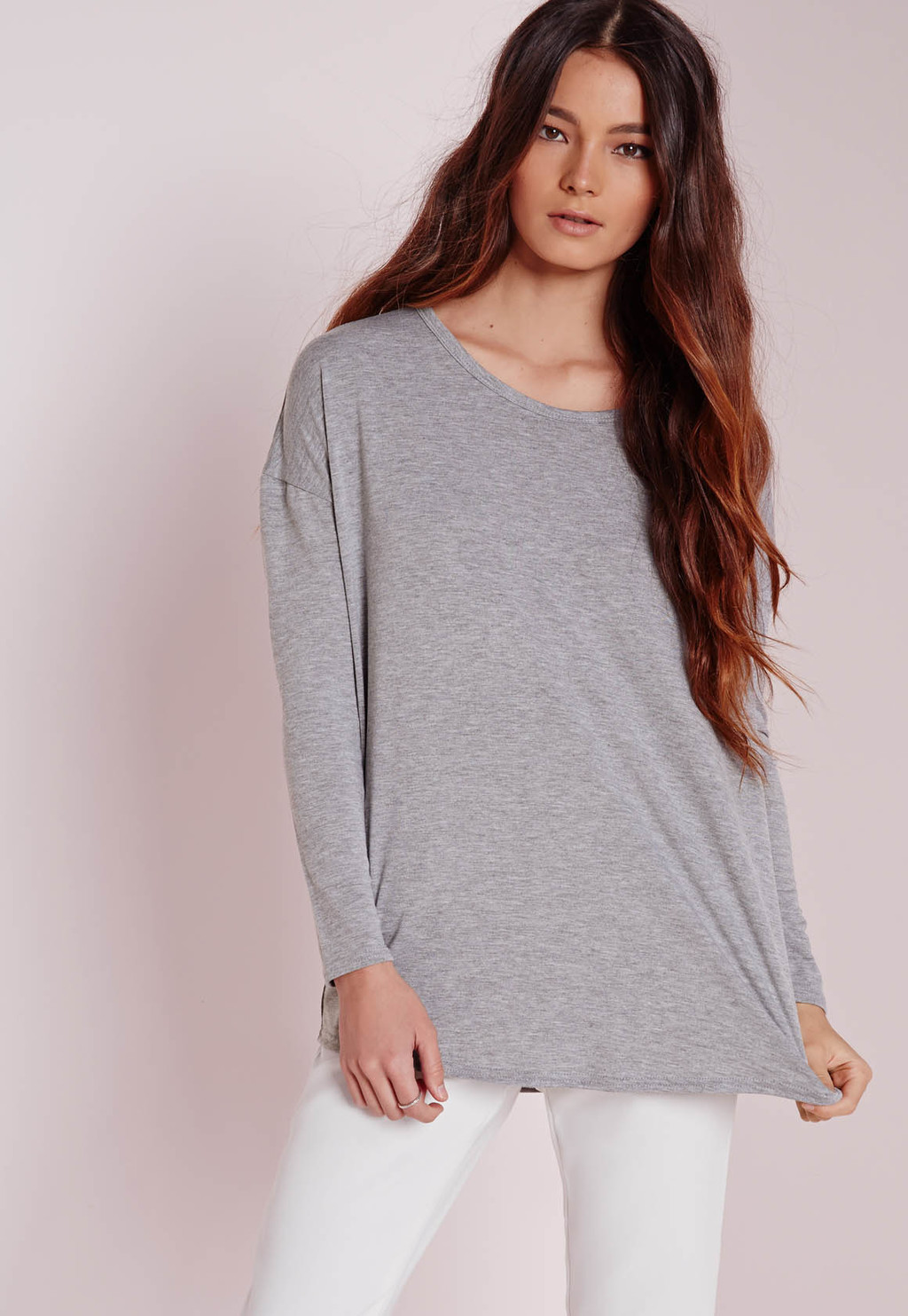 Oversized Raglan Sleeve Tunic Grey, Grey - neckline: round neck; pattern: plain; style: t-shirt; predominant colour: mid grey; occasions: casual; length: standard; fibres: polyester/polyamide - stretch; fit: loose; sleeve length: long sleeve; sleeve style: standard; pattern type: fabric; texture group: jersey - stretchy/drapey; season: a/w 2015