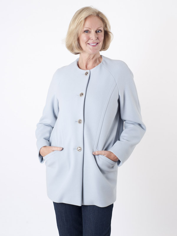 Taifun Pale Blue Collarless Coat - pattern: plain; length: below the bottom; collar: round collar/collarless; style: single breasted; predominant colour: pale blue; occasions: casual, creative work; fit: straight cut (boxy); fibres: viscose/rayon - stretch; sleeve length: long sleeve; sleeve style: standard; collar break: high; pattern type: fabric; texture group: woven bulky/heavy; season: a/w 2015; wardrobe: highlight