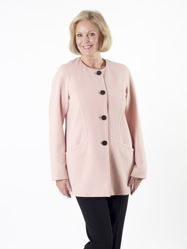 Taifun Blush Collarless Coat - pattern: plain; length: below the bottom; collar: round collar/collarless; style: single breasted; predominant colour: blush; occasions: casual; fit: straight cut (boxy); fibres: polyester/polyamide - mix; sleeve length: long sleeve; sleeve style: standard; collar break: high; pattern type: fabric; texture group: woven bulky/heavy; season: a/w 2015; wardrobe: basic
