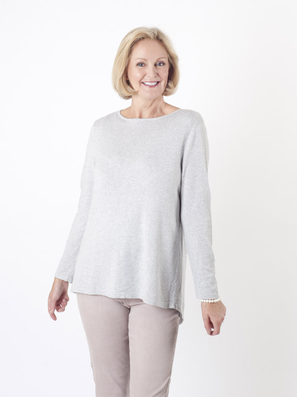 Gerry Weber Silver Grey Fine Knit Jumper - neckline: slash/boat neckline; pattern: plain; style: standard; predominant colour: silver; occasions: casual, creative work; length: standard; fibres: wool - mix; fit: loose; sleeve length: long sleeve; sleeve style: standard; texture group: knits/crochet; pattern type: knitted - fine stitch; season: a/w 2015; wardrobe: highlight