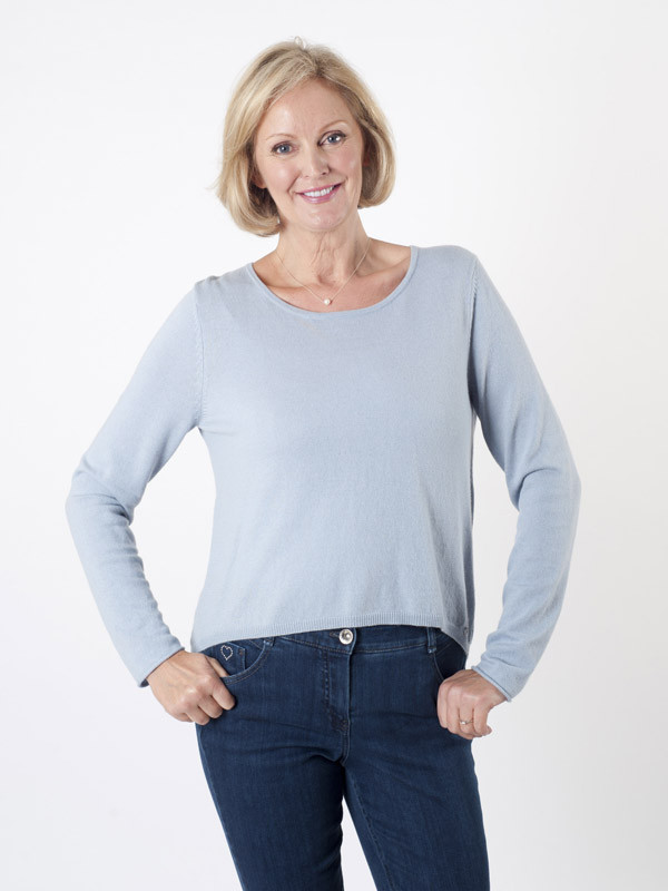 Taifun Pale Blue Fine Knit Jumper - neckline: round neck; pattern: plain; style: standard; predominant colour: pale blue; occasions: casual, creative work; length: standard; fibres: wool - mix; fit: standard fit; sleeve length: long sleeve; sleeve style: standard; texture group: knits/crochet; pattern type: knitted - fine stitch; season: a/w 2015; wardrobe: highlight