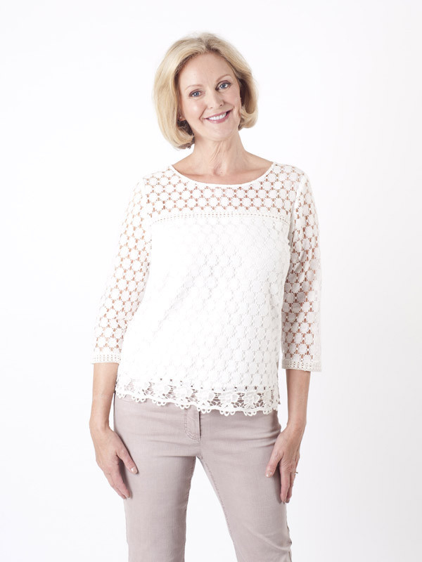 Gerry Weber Ivory Circle Lace Top - neckline: round neck; pattern: plain; predominant colour: white; occasions: casual, creative work; length: standard; style: top; fibres: polyester/polyamide - 100%; fit: body skimming; sleeve length: long sleeve; sleeve style: standard; texture group: knits/crochet; pattern type: knitted - other; embellishment: lace; season: a/w 2015; wardrobe: highlight