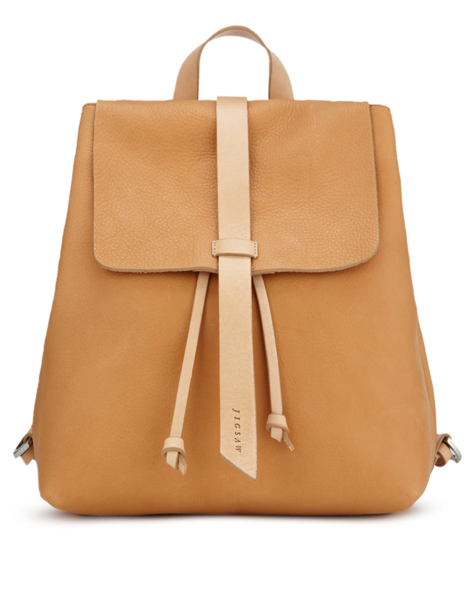 Blake Leather Backpack - predominant colour: tan; occasions: casual, creative work; type of pattern: standard; style: rucksack; length: rucksack; size: standard; material: leather; pattern: plain; finish: plain; season: a/w 2015; wardrobe: highlight