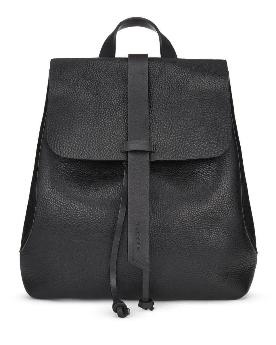 Blake Leather Backpack - predominant colour: black; occasions: casual, creative work; type of pattern: standard; style: rucksack; length: rucksack; size: standard; material: leather; pattern: plain; finish: plain; season: a/w 2015; wardrobe: basic