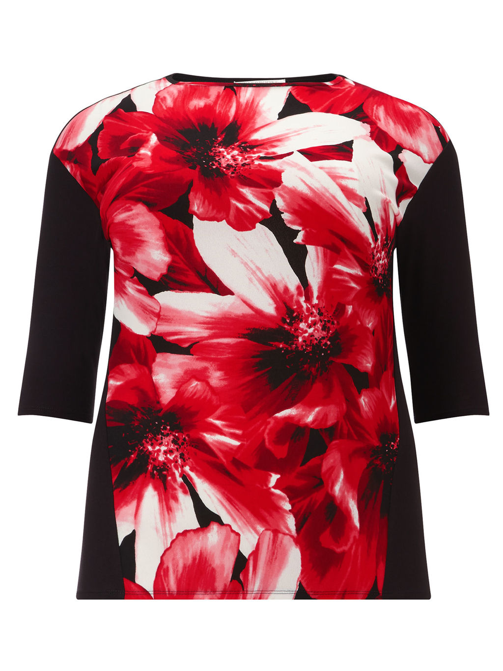 Floral Print Top, Red/Black - style: t-shirt; predominant colour: true red; secondary colour: black; occasions: casual, creative work; length: standard; fibres: polyester/polyamide - 100%; fit: body skimming; neckline: crew; sleeve length: 3/4 length; sleeve style: standard; pattern type: fabric; pattern: patterned/print; texture group: jersey - stretchy/drapey; pattern size: big & busy (top); season: a/w 2015; wardrobe: highlight
