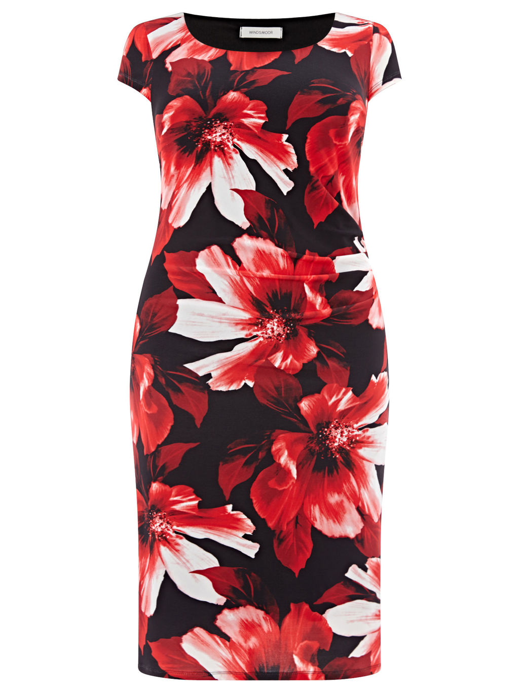 Floral Print Dress, Red/Black - style: shift; neckline: round neck; sleeve style: capped; fit: tailored/fitted; predominant colour: true red; secondary colour: black; length: on the knee; fibres: polyester/polyamide - stretch; occasions: occasion; sleeve length: short sleeve; pattern type: fabric; pattern size: big & busy; pattern: florals; texture group: jersey - stretchy/drapey; season: a/w 2015