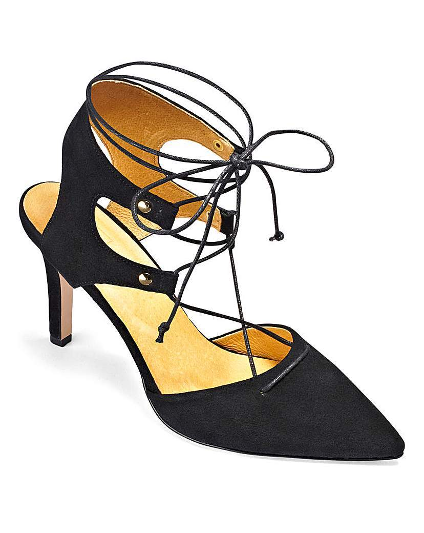 Sole Diva Lace Up Sandals E Fit - predominant colour: black; occasions: evening, occasion; material: suede; heel height: high; ankle detail: ankle tie; heel: stiletto; toe: pointed toe; style: slingbacks; finish: plain; pattern: plain; season: a/w 2015; wardrobe: event