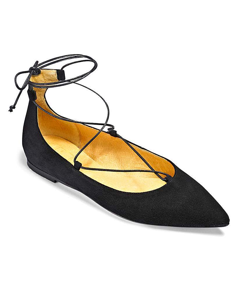 Sole Diva Lace Up Ballerinas E Fit - predominant colour: black; occasions: casual, creative work; material: suede; heel height: flat; ankle detail: ankle tie; toe: pointed toe; style: ballerinas / pumps; finish: plain; pattern: plain; season: a/w 2015