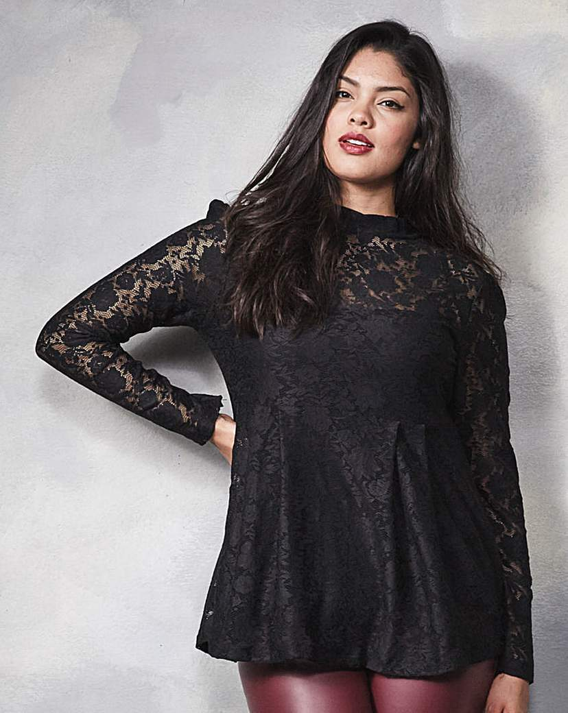 Lace Top - predominant colour: black; occasions: evening, occasion; length: standard; style: top; fibres: polyester/polyamide - stretch; fit: straight cut; neckline: crew; sleeve length: long sleeve; sleeve style: standard; texture group: lace; pattern type: fabric; pattern size: standard; pattern: patterned/print; season: a/w 2015; wardrobe: event