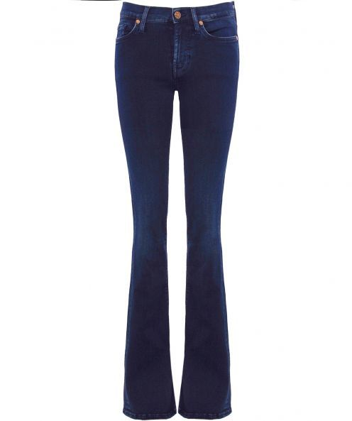 Skinny Bootcut Jeans - style: bootcut; length: standard; pattern: plain; pocket detail: traditional 5 pocket; waist: mid/regular rise; predominant colour: navy; occasions: casual; fibres: cotton - stretch; texture group: denim; pattern type: fabric; season: a/w 2015; wardrobe: basic