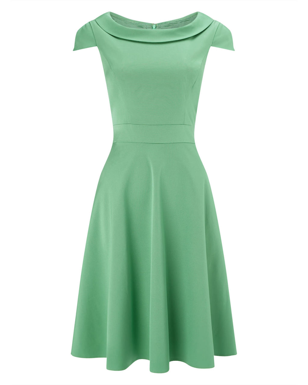 Nicola Fit And Flare Dress - neckline: slash/boat neckline; sleeve style: capped; pattern: plain; predominant colour: pistachio; occasions: evening, occasion; length: just above the knee; fit: fitted at waist & bust; style: fit & flare; fibres: cotton - mix; sleeve length: short sleeve; pattern type: fabric; texture group: jersey - stretchy/drapey; season: a/w 2015; wardrobe: event
