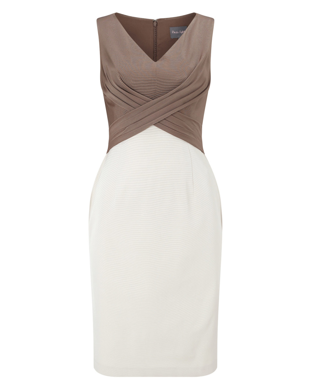 Hattie Dress - style: shift; neckline: v-neck; fit: tailored/fitted; sleeve style: sleeveless; secondary colour: white; predominant colour: taupe; occasions: evening; length: just above the knee; fibres: viscose/rayon - stretch; sleeve length: sleeveless; pattern type: fabric; pattern: colourblock; texture group: jersey - stretchy/drapey; multicoloured: multicoloured; season: a/w 2015