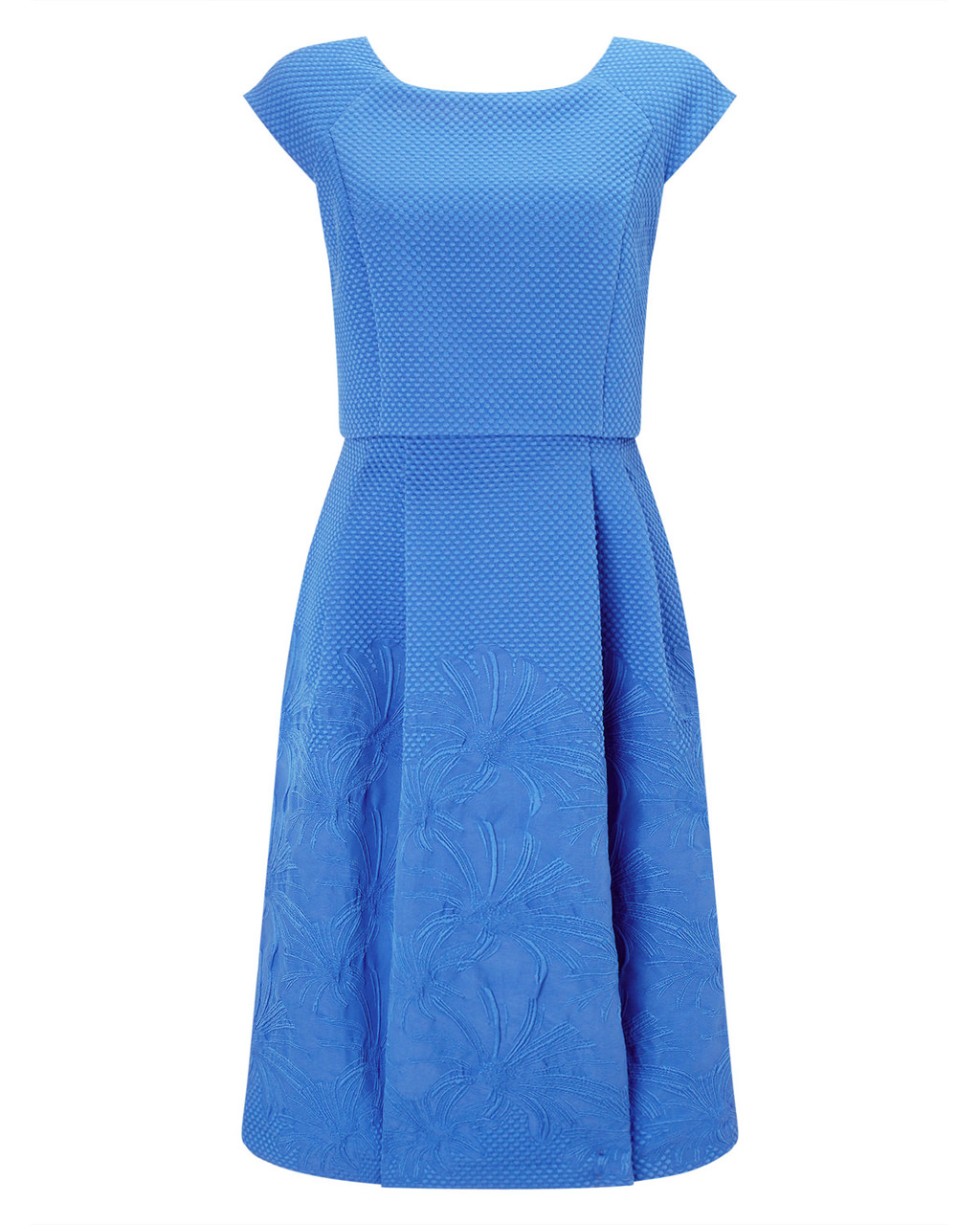 Trixie Jacquard Dress - neckline: round neck; sleeve style: capped; pattern: plain; predominant colour: diva blue; occasions: evening; length: on the knee; fit: fitted at waist & bust; style: fit & flare; fibres: polyester/polyamide - stretch; sleeve length: short sleeve; pattern type: fabric; texture group: brocade/jacquard; embellishment: embroidered; season: a/w 2015; wardrobe: event; embellishment location: skirt