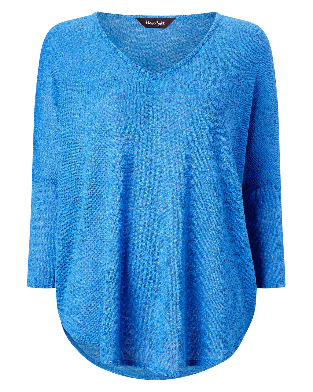 Philippa Top - neckline: low v-neck; pattern: plain; length: below the bottom; style: t-shirt; predominant colour: diva blue; occasions: casual; fibres: acrylic - 100%; fit: body skimming; sleeve length: 3/4 length; sleeve style: standard; pattern type: fabric; texture group: jersey - stretchy/drapey; season: a/w 2015