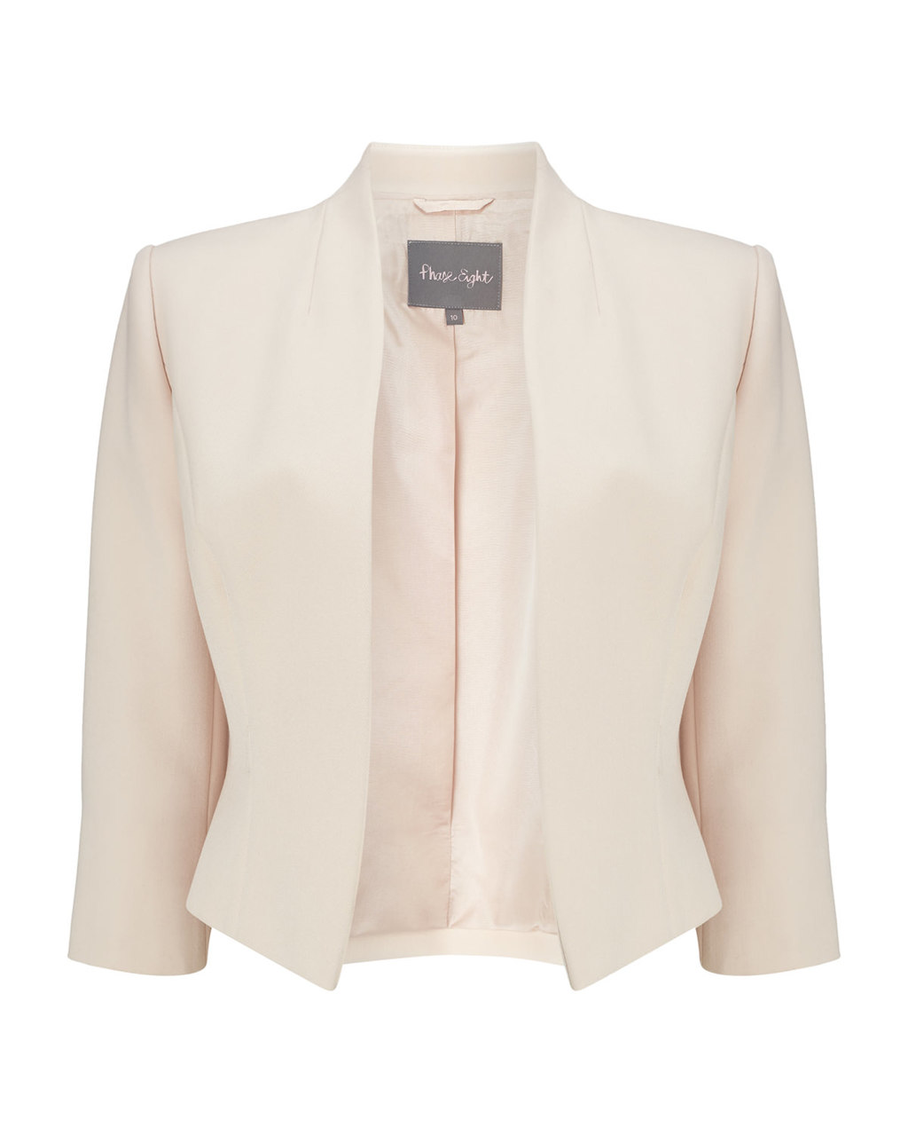 Juno Jacket - pattern: plain; style: single breasted blazer; collar: round collar/collarless; predominant colour: ivory/cream; length: standard; fit: tailored/fitted; fibres: polyester/polyamide - stretch; occasions: occasion; sleeve length: 3/4 length; sleeve style: standard; collar break: low/open; pattern type: fabric; texture group: woven light midweight; season: a/w 2015; wardrobe: event